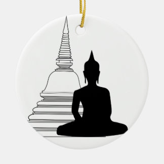 Buddha Silhouette with Stupa Christmas Ornament