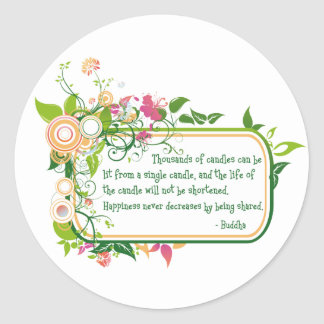 Buddha Single Candle Quote Classic Round Sticker