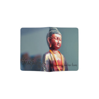 Buddha Statue and Om Mani Padme Hum Text Passport Holder