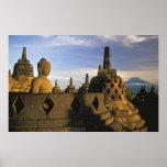 Buddha Statue, Stupas, and Volcano, Borobudur Poster