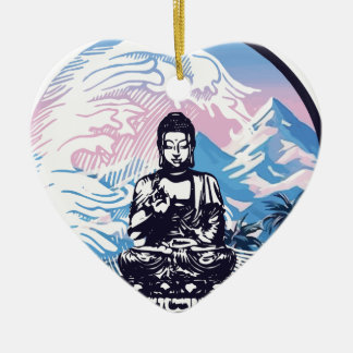 Buddha Tropical Mountain Wave Christmas Ornament