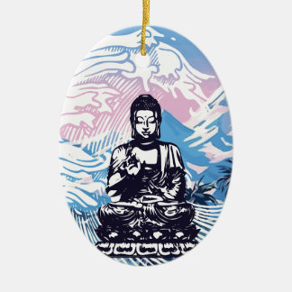 Buddha Tropical Mountain Wave Christmas Ornament