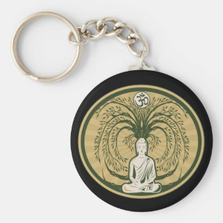 Buddha Under the Bodhi Tree Basic Round Button Key Ring