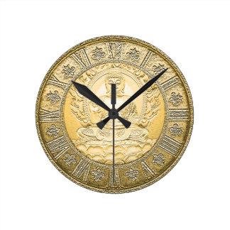 Buddha Vintage Gold Look Wall Clocks