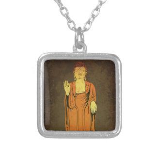 Buddha Vitarka Mudra Square Pendant Necklace