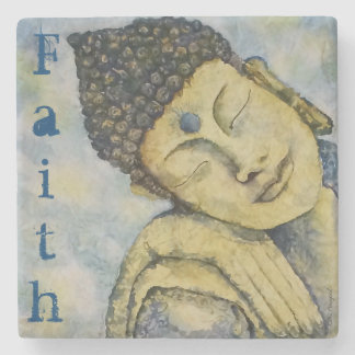 Buddha Watercolor Art Faith Stone Coaster