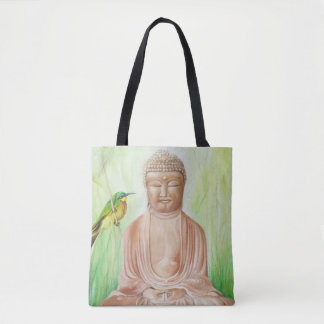 Buddha with Bee Catcher Bird Tote Bag