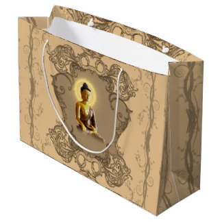 Buddha with mystical light  and floral elements large gift bag