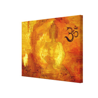 Buddha with Om and Lotosflowers Gallery Wrap Canvas