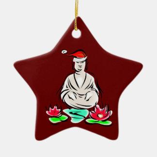 Buddha with Santa hat Christmas Ornament