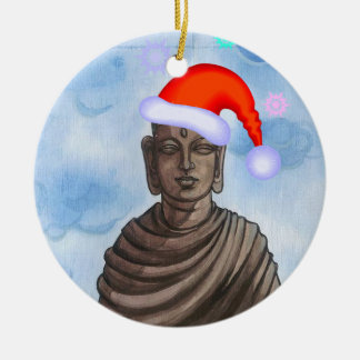 Buddha with Santa hat II Christmas Ornament