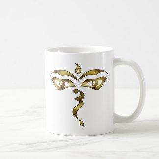Buddha's Wisdom Eyes Nepalese Buddhist Basic White Mug