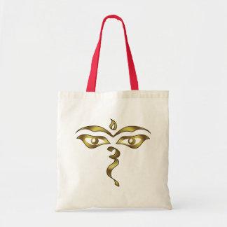 Buddha's Wisdom Eyes Nepalese Buddhist Budget Tote Bag
