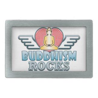 Buddhism B Rocks Rectangular Belt Buckle