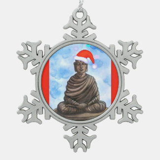 Buddhism - Buddha - Merry Christmas Snowflake Pewter Christmas Ornament