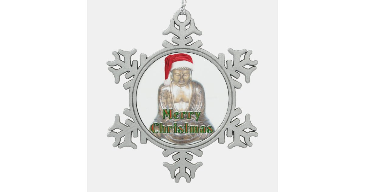 Buddhism - Buddha - Merry Christmas Snowflake Pewter ...