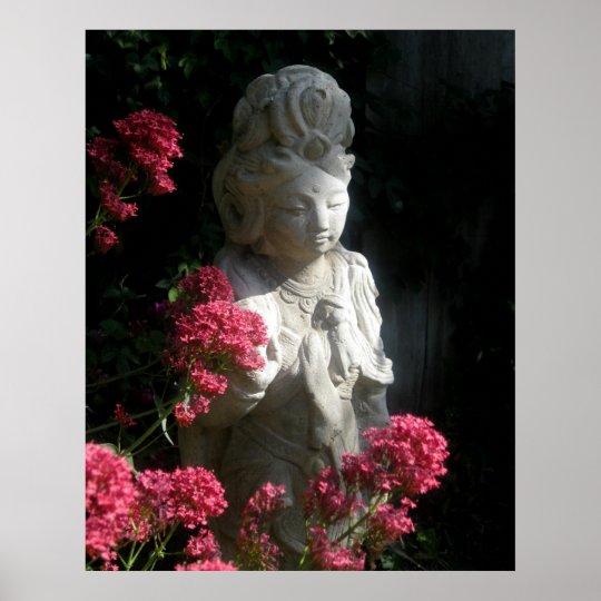 Buddhism Poster Goddess Kuan Yin Buddha Flowers