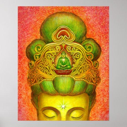 Buddhism Poster Kuan Yin Buddha Crown Zen Buddhist