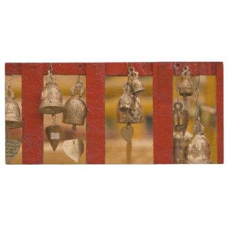 Buddhist Bells at Doi Suthep Temple Wood USB 2.0 Flash Drive