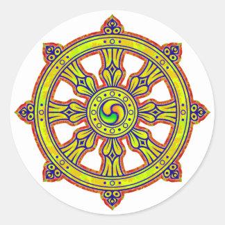 Buddhist Dharma Chakra Classic Round Sticker