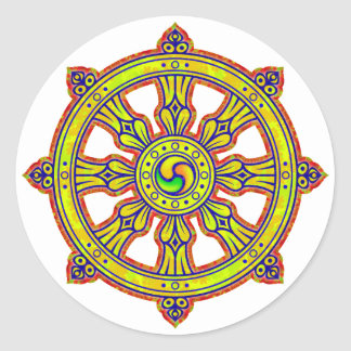 Buddhist Dharma Chakra Round Sticker