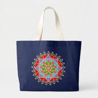 Buddhist Dharma Wheel Mandala Pattern Large Tote Bag