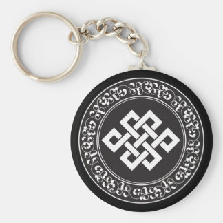 Buddhist Endless Knot Basic Round Button Key Ring