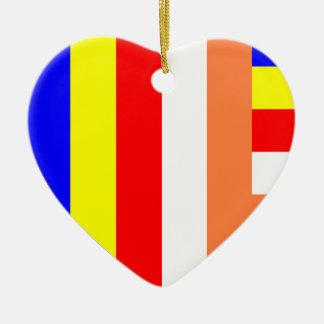 Buddhist Flag Heart Christmas Ornament