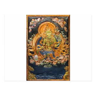 BUDDHIST GODDESS GREEN TARA METALLIC INLAY POSTCARD