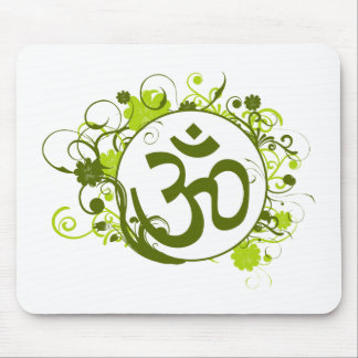 Buddhist Green Floral Om Mouse Mat