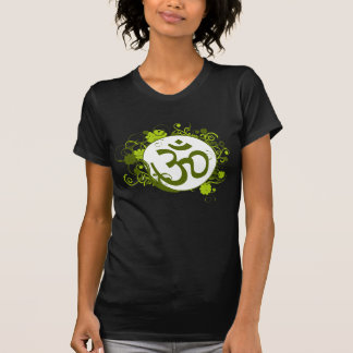Buddhist Green Floral Om T-Shirt