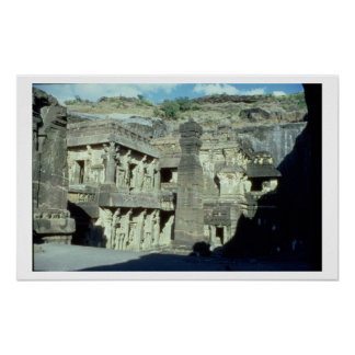 Buddhist, Jainist and Hindu caves at Ellora, 600-1 Poster
