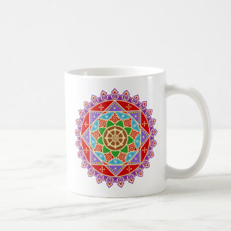 Buddhist Mandala Pattern with Dharma Wheel Coffee Mug