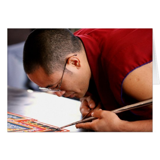 Buddhist Monk Creating Mandala Card