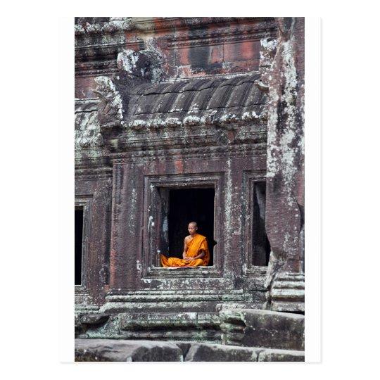 Buddhist monk meditating Angkor Wat Postcard