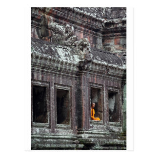 Buddhist monk meditating Angkor Wat temple Postcard