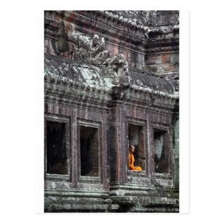Buddhist monk meditating Angkor Wat temple Postcard