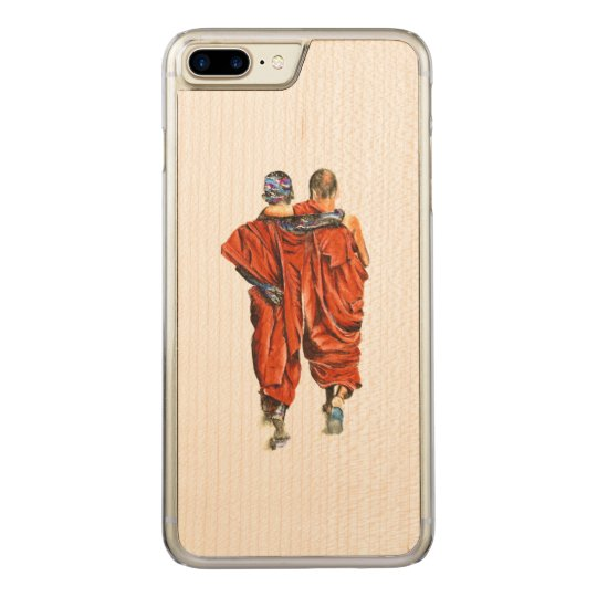 Buddhist monks carved iPhone 8 plus/7 plus case
