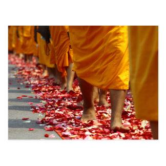 Buddhist Monks walking postcard