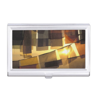 Buddhist prayer flags in the sunset, business card holder