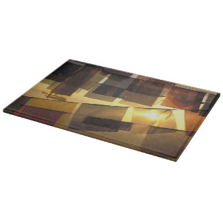 Buddhist prayer flags in the sunset, cutting board