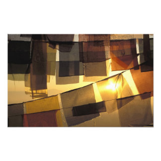 Buddhist prayer flags in the sunset, photo art