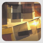 Buddhist prayer flags in the sunset, square sticker