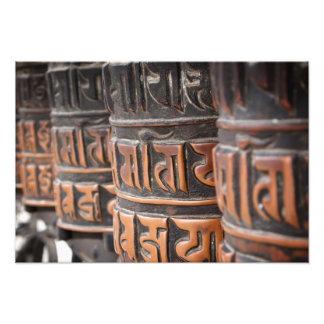 Buddhist prayer wheels photo print