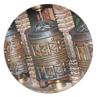 Buddhist prayer wheels plate