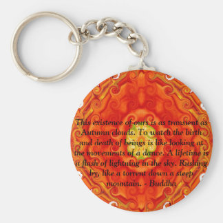 Buddhist Quote with vibrant spiritual design Basic Round Button Key Ring