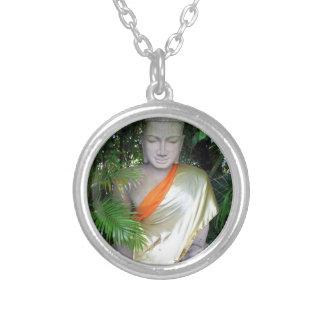 Buddhist sculpture in garden Cambodia Silver Plated Necklace