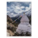 Buddhist Shrine & Prayer Flags, Himalaya Mountains Greeting Card