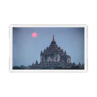 Buddhist Temple At Sunset Acrylic Tray
