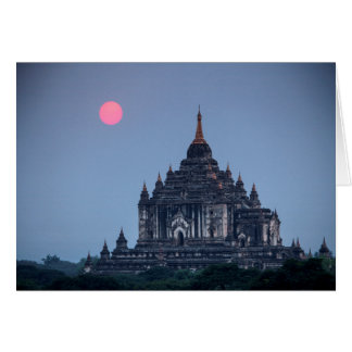 Buddhist Temple At Sunset Card